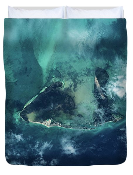 Satellite View Of West Grand Bahama Duvet Cover