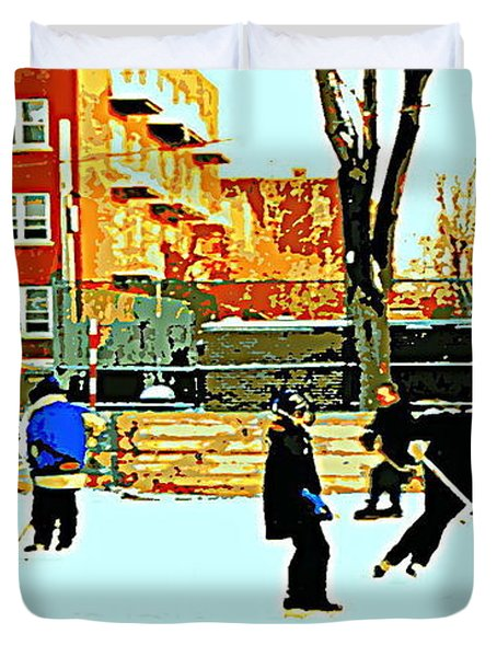 Saturday Afternoon Hockey Practice At The Neighborhood Rink Montreal Winter City Scene Duvet Cover by Carole Spandau