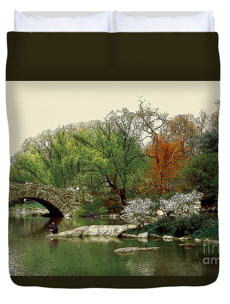 Saturday In Central Park Duvet Cover by Linda  Parker