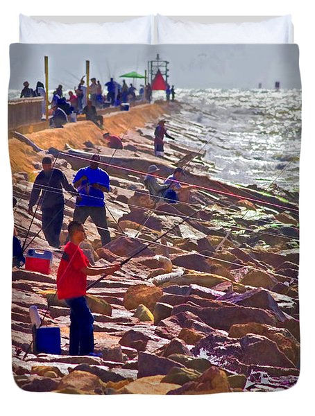 Duvet Cover featuring the photograph Saturday Morning On The Surfside Jetty by Gary Holmes