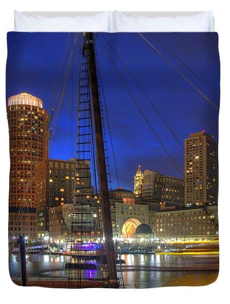 Saturday Night Boston Hustle Duvet Cover by Joann Vitali