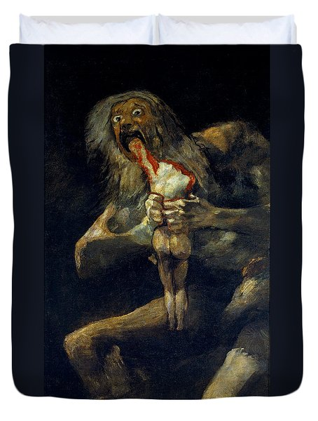 Saturn Devouring His Son Duvet Cover
