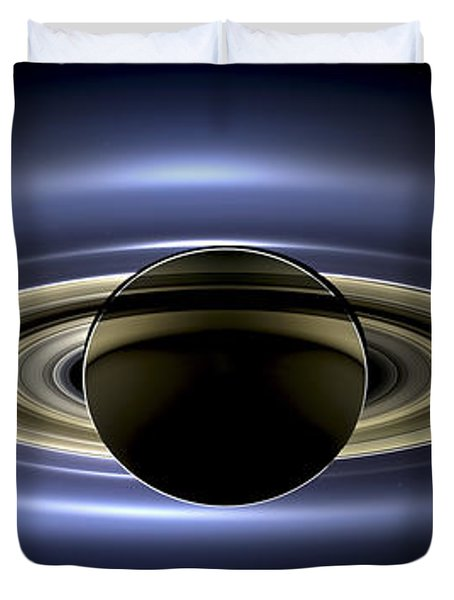 Saturn Mosaic With Earth Duvet Cover by Adam Romanowicz