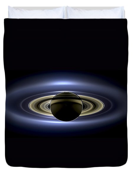 Saturn Mosaic With Earth Duvet Cover