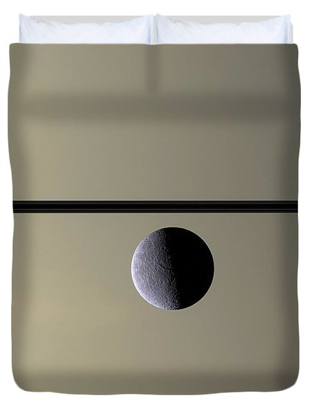 Saturn Rhea Contemporary Abstract Duvet Cover by Adam Romanowicz