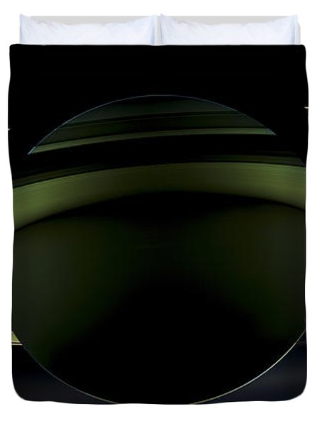 Saturns Glowing Rings Duvet Cover by Adam Romanowicz