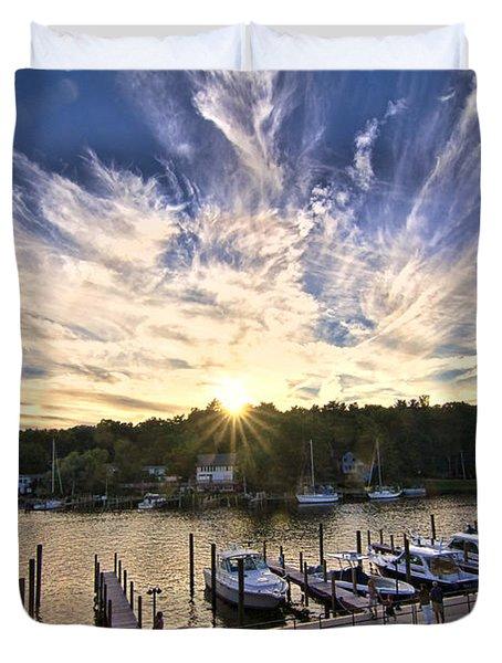 Duvet Cover featuring the photograph Saugatauk Sunset by John Hansen