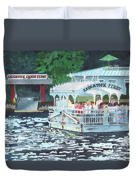 Duvet Cover featuring the painting Saugatuck Chain Ferry by LeAnne Sowa