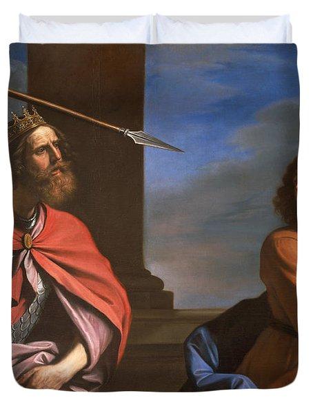 Saul Attacking David Duvet Cover