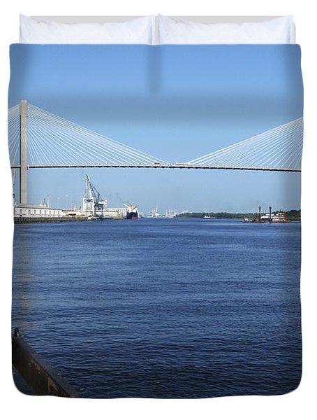 Savannah River Bridge Ga Duvet Cover
