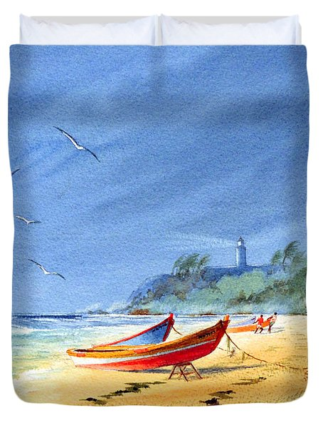 Saving The Fishing Boats - Maunabo Beach Puerto Rico Duvet Cover by Bill Holkham