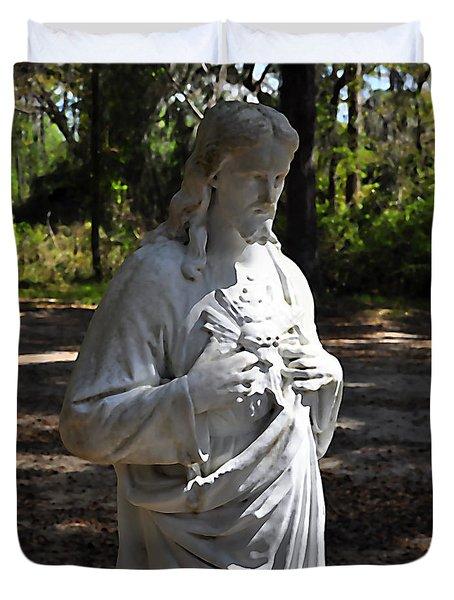 Savior Statue Duvet Cover by Al Powell Photography USA