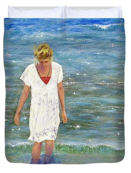 Duvet Cover featuring the painting Savoring The Sea by Margaret Bobb