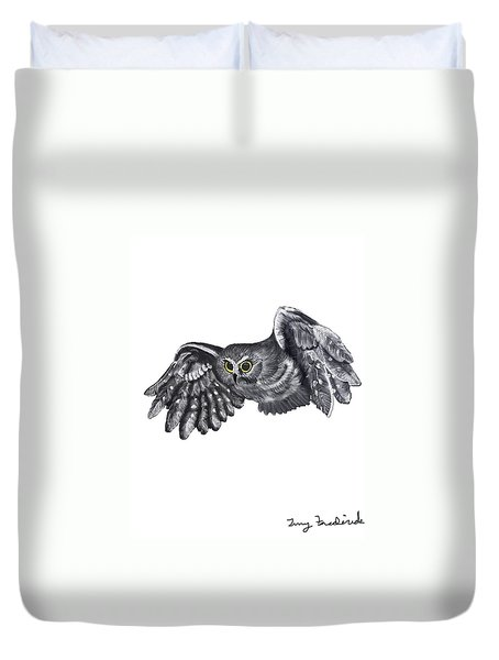 Saw-whet Owl Duvet Cover by Terry Frederick