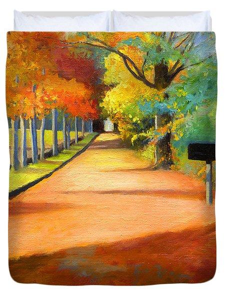 Sawmill Road Autumn Vermont Landscape Duvet Cover