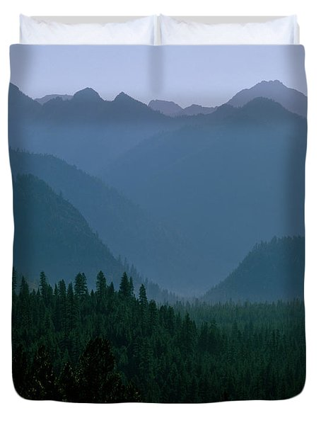 Sawtooth Mountains Silhouette Duvet Cover