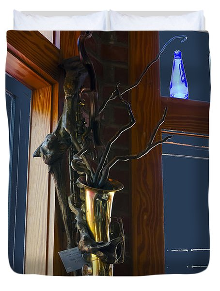 Duvet Cover featuring the photograph Sax At The Full Moon Cafe by Greg Reed