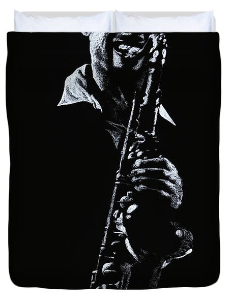 Sax Player Duvet Cover by Richard Young