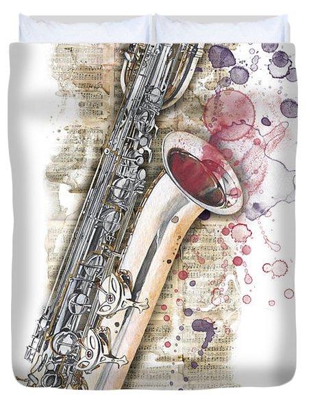 Saxophone 01 - Elena Yakubovich Duvet Cover