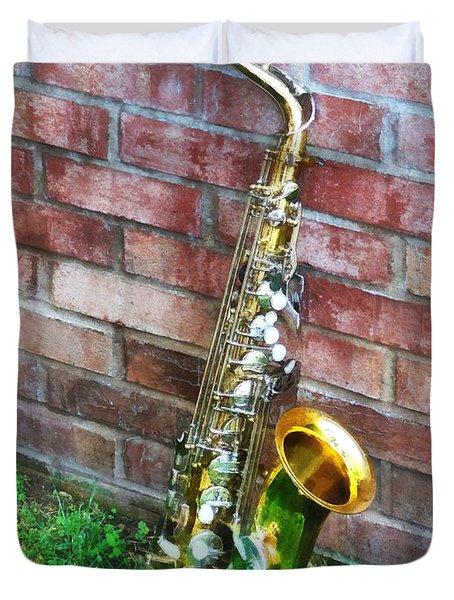 Saxophone Against Brick Duvet Cover