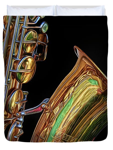 Duvet Cover featuring the photograph Saxophone by Dave Mills