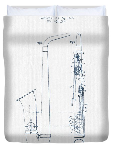 Saxophone Patent Drawing From 1899 - Blue Ink Duvet Cover