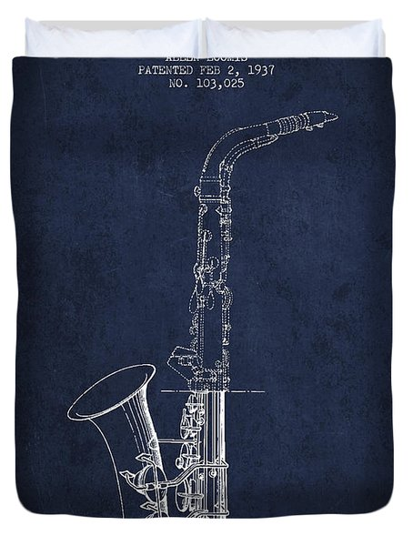 Saxophone Patent Drawing From 1937 - Blue Duvet Cover by Aged Pixel