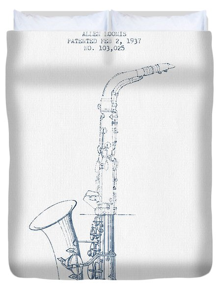 Saxophone Patent Drawing From 1937 - Blue Ink Duvet Cover by Aged Pixel