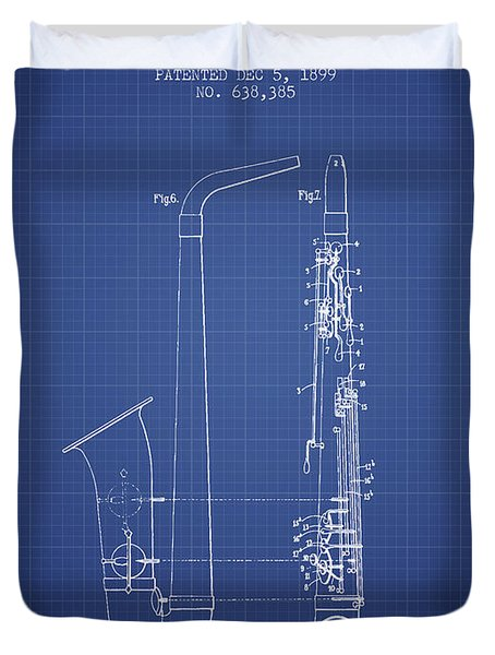 Saxophone Patent From 1899 - Blueprint Duvet Cover