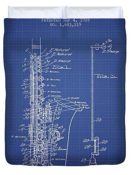 Saxophone Patent From 1928 - Blueprint Duvet Cover by Aged Pixel