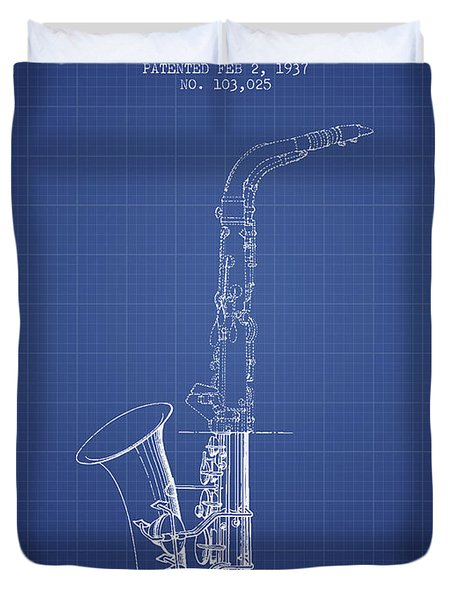 Saxophone Patent From 1937 - Blueprint Duvet Cover