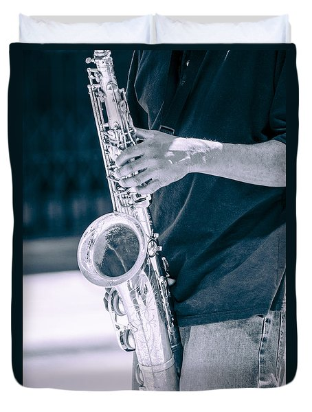 Saxophone Player On Street Duvet Cover by Carolyn Marshall