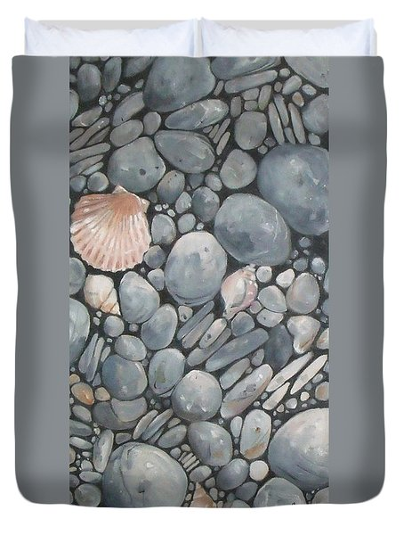Scallop Shell And Black Stones Duvet Cover by Mary Hubley