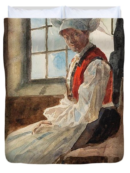 Scandinavian Peasant Woman In An Interior Duvet Cover by Alexandre Lunois