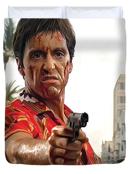 Duvet Cover featuring the painting Scarface Artwork 2 by Sheraz A