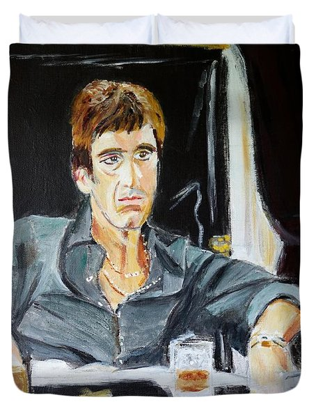 Duvet Cover featuring the painting Scarface by Judy Kay