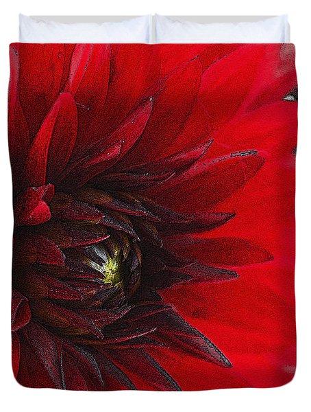 Scarlet Dahlia Duvet Cover by Janice Rae Pariza