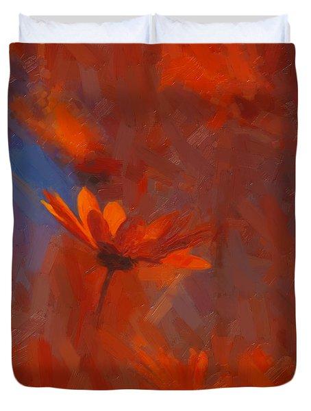 Scarlet Petals  Duvet Cover