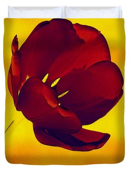 Scarlet Tulip At Sunset Duvet Cover