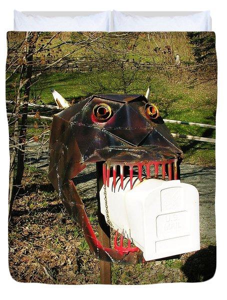Duvet Cover featuring the photograph Scary Mailbox 2 by Sherman Perry