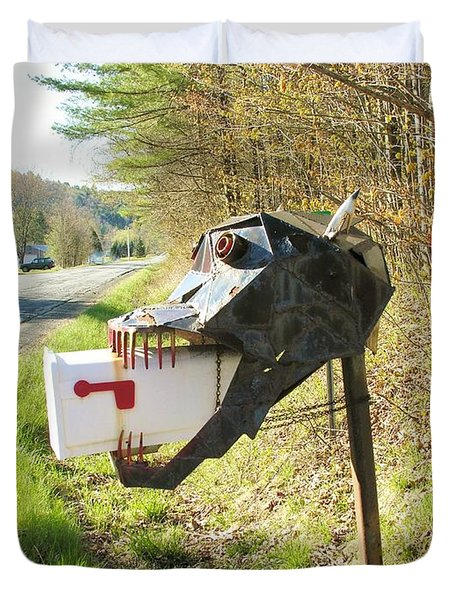 Duvet Cover featuring the photograph Scary Mailbox by Sherman Perry