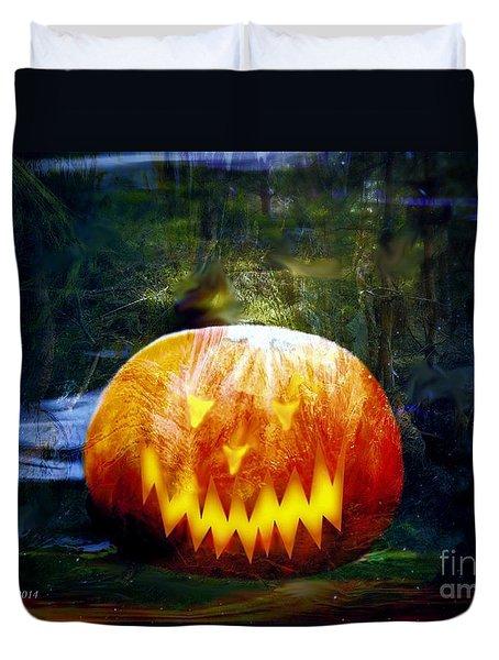Scary Pumpkin Halloween Art Duvet Cover by Annie Zeno