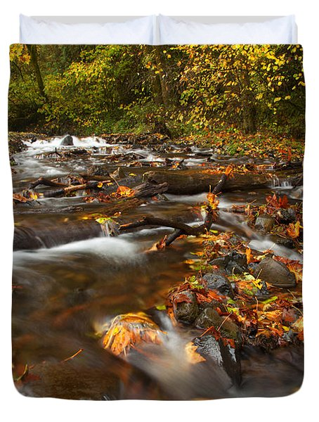 Scattered Leaves Duvet Cover by Mike  Dawson