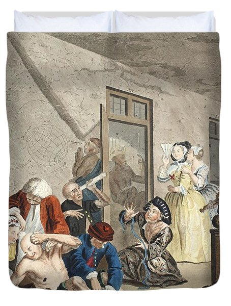 Scene In Bedlam, Plate Viii, From A Duvet Cover by William Hogarth