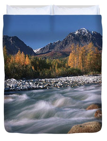 Scenic Of Granite Creek In Autumn Sc Duvet Cover by Calvin Hall