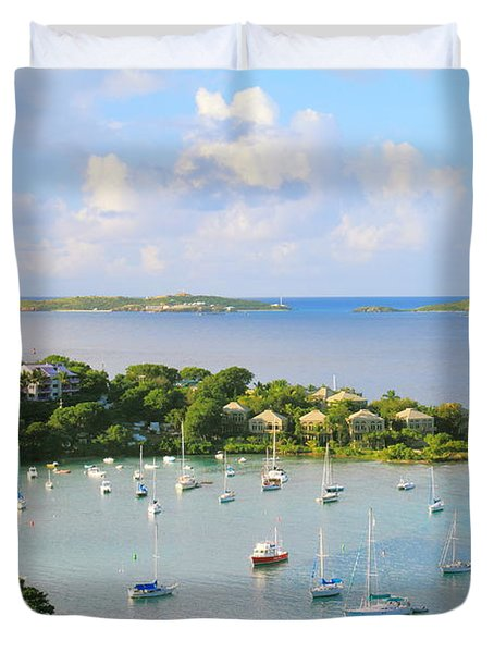 Scenic Overlook Of Cruz Bay St. John Usvi Duvet Cover
