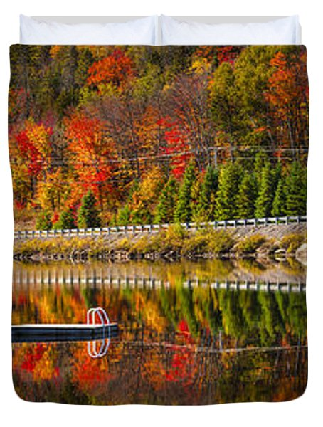 Scenic Road In Fall Forest Duvet Cover