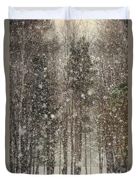 Scenic Snowfall Duvet Cover by Christina Rollo