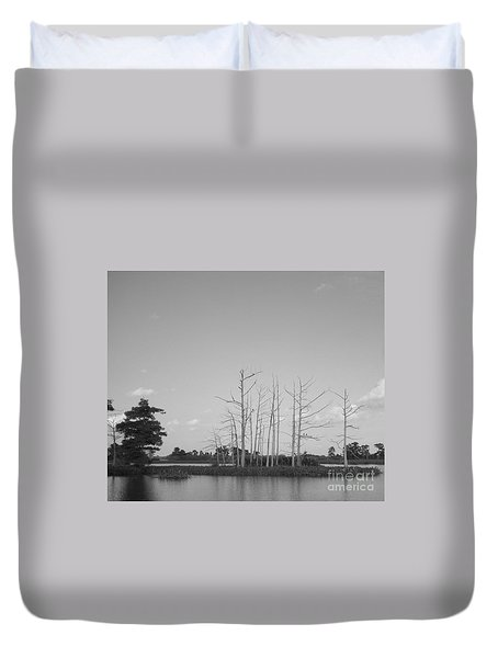 Duvet Cover featuring the photograph Scenic Swamp Cypress Trees Black And White by Joseph Baril