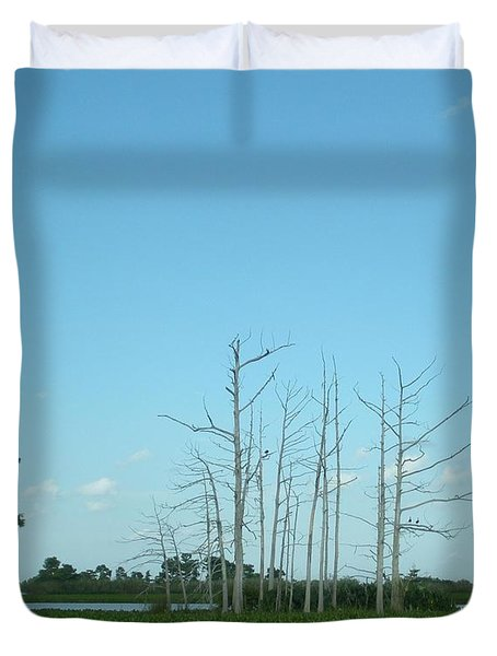 Duvet Cover featuring the photograph Scenic Swamp Cypress Trees by Joseph Baril